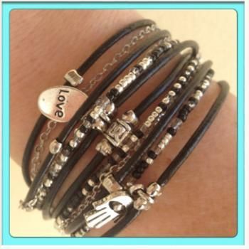 Black Boho Leather Wrap Bracelet with Silver Accents, Custom Made to Your Wrist Measurement, You Choose Leather and Bead Color