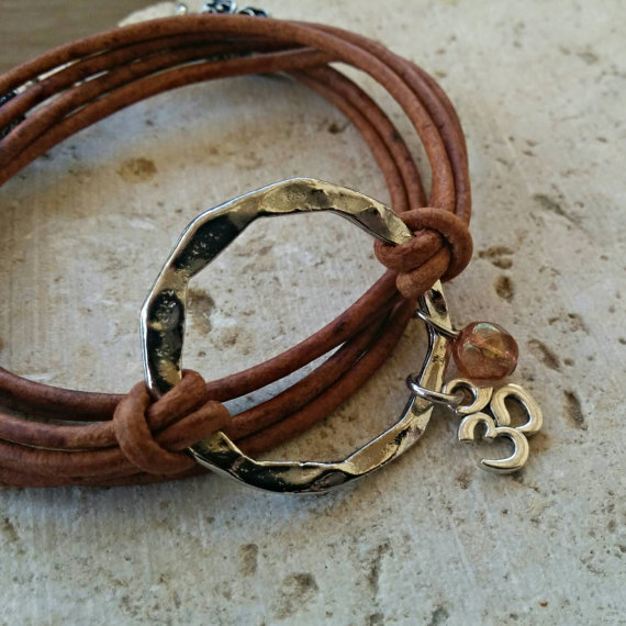 Boho Distressed Brown Leather Wrap Bracelet, Bohemian Jewelry, Triple Wrap Cuff, Silver Hammered Disc, Choose ONE Charm & Leather Color